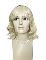 cheap -Blonde Wig Deep Wave Heat Resistant Synthetic Fiber Hair Short With Air Bangs Capless For Fashion Party Women Costume Wigs