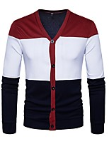 cheap -Men's Daily Casual Active Regular Cardigan,Color Block V Neck Long Sleeves Polyester Winter Fall Thin Micro-elastic