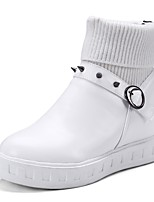 cheap -Women's Shoes PU Fall Winter Comfort Boots Flat Heel Round Toe Rivet Buckle For Outdoor Office & Career Black White