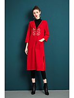 cheap -ZIYI Women's Party Going out Simple Casual Winter Fall Coat,Solid V-neck Long Sleeves Long Others Embroidery