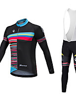 Cycling Jersey with Bib Tights Unisex Long Sleeves Bike Bib Tights Jersey Reflective Strip Fast Dry Quick Dry Anatomic Design