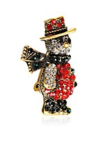 Men's Women's Brooches Gift Zircon Gold Plated Alloy Jewelry For New Year Christmas