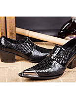Men's Shoes Real Leather All Season Comfort Novelty Oxfords Rivet Buckle For Wedding Party & Evening Black
