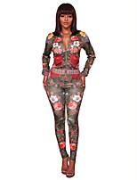 Women's Sports & Outdoor Sports Vintage Casual Spring/Fall Cross-Seasons Set Pant Suits,Floral V Neck Long Sleeves Floral Polyester