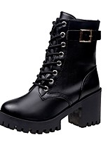 cheap -Women's Shoes PU Fall Combat Boots Boots Round Toe Mid-Calf Boots Lace-up For Casual Black