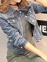 Veste en jean Femme,Couleur Pleine Décontracté / Quotidien simple Printemps, Août, Hiver, Eté Manches longues Col en V Court Coton