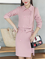 Women's Daily Going out Street chic Winter Fall Shirt Skirt Suits,Solid Shirt Collar Long Sleeves Polyester