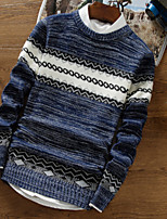 Men's Casual/Daily Short Pullover,Print Round Neck Long Sleeves Cotton Fall Winter Thick Micro-elastic