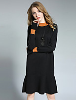 Women's Going out Casual/Daily Simple Sweater Dress,Color Block Round Neck Knee-length Long Sleeve Acrylic Spandex Fall Winter High Waist