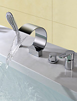 Contemporary Modern Style Widespread Waterfall High Quality with  Ceramic Valve Four Holes for  Chrome , Bathtub Faucet