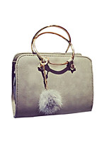 Women Bags PU Tote Feathers / Fur for Casual All Season Black Blushing Pink Gray