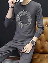 cheap -Men's Daily Going out Hoodie & Sweatshirt Print Round Neck Micro-elastic Polyester Long Sleeves Spring Fall