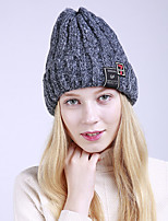 cheap -Women's Acrylic Roman Knit Floppy HatVintage Cute Casual Striped Winter Braided Khaki Fuchsia Beige Dark Gray Blushing Pink