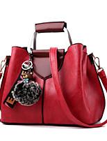 cheap -Women Bags PU Tote Feathers / Fur Zipper for Casual All Season Gray Purple Yellow Dark Green Wine