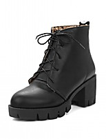 cheap -Women's Shoes Leatherette Spring Winter Fashion Boots Bootie Boots Chunky Heel Round Toe Booties/Ankle Boots For Casual Office & Career