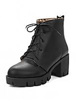 preiswerte -Damen Schuhe Kunstleder Winter Frühling Modische Stiefel Stiefeletten Stiefel Blockabsatz Runde Zehe Booties / Stiefeletten Für Normal