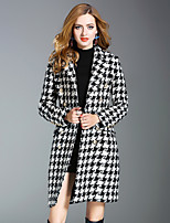 Women's Daily Going out Street chic Fall Coat,Houndstooth Long Wool Polyester