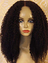 cheap -Women Human Hair Lace Wig Peruvian Human Hair Glueless Lace Front 150% Density With Baby Hair Kinky Curly Wig Black Medium Length Natural