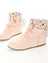 preiswerte -Damen Schuhe Kunstleder Herbst Winter Modische Stiefel Stiefel Runde Zehe Booties / Stiefeletten Schnalle Für Normal Kleid Weiß Schwarz