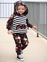 Girls' Striped Floral Clothing Set,Cotton Polyester Spring Fall Long Sleeve Cute Active Black