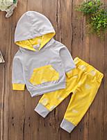 preiswerte -Jungen Kleidungs Set Solide Einfarbig Baumwolle Polyester Frühling Herbst Langärmelige Einfach Aktiv Gelb