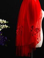 Недорогие -Два слоя Обрезанная кромка Modern Свадебные вуали Фата для венчания Головные уборы С Аппликация Тюль