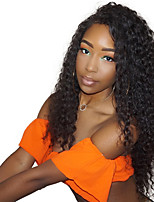 cheap -Women Human Hair Lace Wig Chinese Remy Lace Front Glueless Lace Front 130% Density With Baby Hair Kinky Curly Wig Black Black Medium