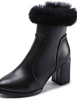 preiswerte -Damen Schuhe PU Frühling Herbst Komfort Stiefel Für Schwarz Braun