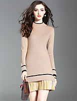 Women's Going out Casual/Daily Street chic Sweater Dress,Solid Striped Crew Neck Knee-length Long Sleeve Wool Microfiber Acrylic Fall