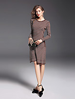 Women's Daily Going out Casual A Line Dress,Striped Round Neck Above Knee Long Sleeves Nylon Mid Rise Stretchy Medium