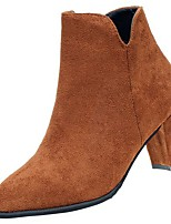 abordables -Femme Chaussures Polyuréthane Hiver Automne Semelles Légères Bottes Block Heel Bout pointu Bottes Mi-mollet Pour Décontracté Noir Marron