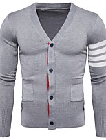 cheap -Men's Casual/Daily Work Regular Cardigan,Solid Round Neck Long Sleeves Polyester Winter Thick Micro-elastic