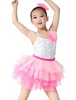 Tenues de Danse pour Enfants Robes Enfant Spectacle Spandex Élastique Tulle Pailleté Paillette Sans manche Taille moyenne Robes Coiffures