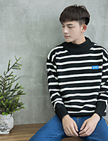 Men's Daily Regular Pullover,Solid Round Neck Long Sleeves Cotton Acrylic Others Fall Medium strenchy