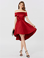 A-Line Princess Off-the-shoulder Asymmetrical Satin Cocktail Party Dress with Pleats by TS Couture®