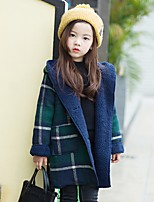 Girls' Color Block Trench Coat,Polyester Long Sleeves