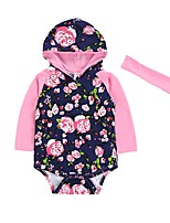 Baby Floral One-Pieces,Cotton Winter Spring/Fall Long Sleeves