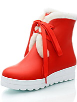 cheap -Women's Shoes Leatherette Winter Comfort Snow Boots Boots Round Toe Booties/Ankle Boots For Party & Evening Dress Red Black White