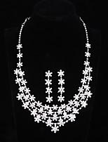 Women's Drop Earrings Necklace Luxury Bling Bling Rhinestone Alloy Flower Earrings Necklace For Wedding Party Wedding Gifts