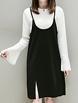 Women's Daily Going out Casual Fall Blouse Dress Suits,Solid Strap Sleeveless Cotton Polyester