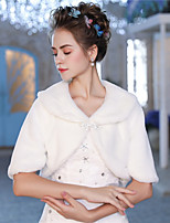 Half Sleeves Faux Fur Wedding Party / Evening Women's Wrap With Feather/ Fur Crystal Brooch Shrugs