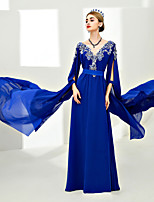 Sheath / Column V-neck Floor Length Chiffon Formal Evening Dress with Laces by SG