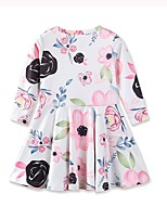 Girl's Daily Going out Floral Dress,Cotton Acrylic Fall Spring, Fall, Winter, Summer Long Sleeves Cute Casual Princess White