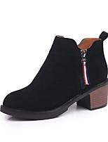 Недорогие -Для женщин Обувь Нубук Зима Удобная обувь Ботинки На толстом каблуке Круглый носок Назначение Повседневные Черный Коричневый