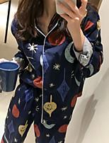 Costumes Pyjamas Femme,Imprimé Fleurs Polyester Bleu Rose Claire