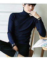 Men's Casual/Daily Regular Pullover,Solid Turtlenecks Long Sleeves Others Autumn Thick strenchy