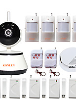 KONLEN® Android IOS WIFI Burglar Alarm CCTV IP Camera System Wireless for Home Anti theft Smoke Detector Video Surveillance Safety Security Protection