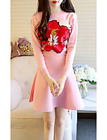 Women's Daily Daily Wear Street chic Winter Fall Set Skirt Suits,Flower/Floral Round Neck Long Sleeves Floral Elastic Stretchy