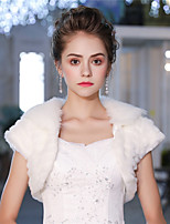 Short Sleeves Faux Fur Wedding Party / Evening Women's Wrap With Feather/ Fur Shrugs