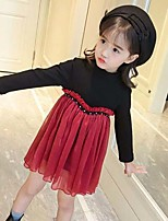 Girl's Patchwork Dress,Cotton Polyester Long Sleeves